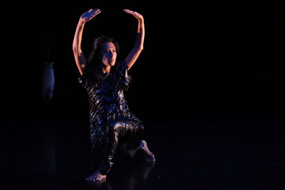 """Mass MoCA in North Adams, Mass., will present a workshop production of Emily Johnson's dance piece """"Niicugni (Listen),"""" which features Johnson and Aretha Aoki, on Nov. 16, 2012.  (Chris Cameron)"""