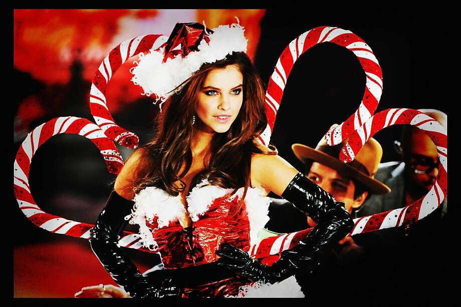 Every year the decorations come out earlier:It's only early November, and already they're decking the Victoria's Secret supermodels with candy canes and Santa fur. (Photo processed with a digital filter.) Photo: Jamie McCarthy, Getty Images