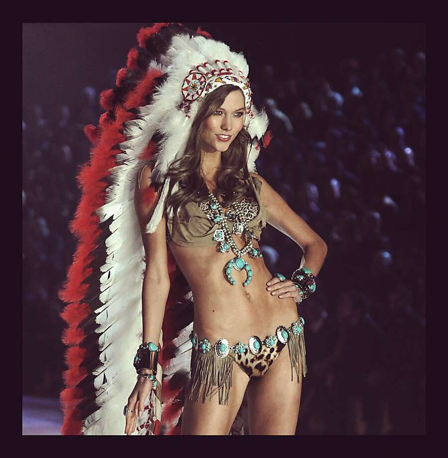 Navajo turquoise with a Sioux headdress is just wrong: Native Americans might have a problem with this Victoria's Secret outfit. (Photo processed with a digital filter.) Photo: Jamie McCarthy, Getty Images