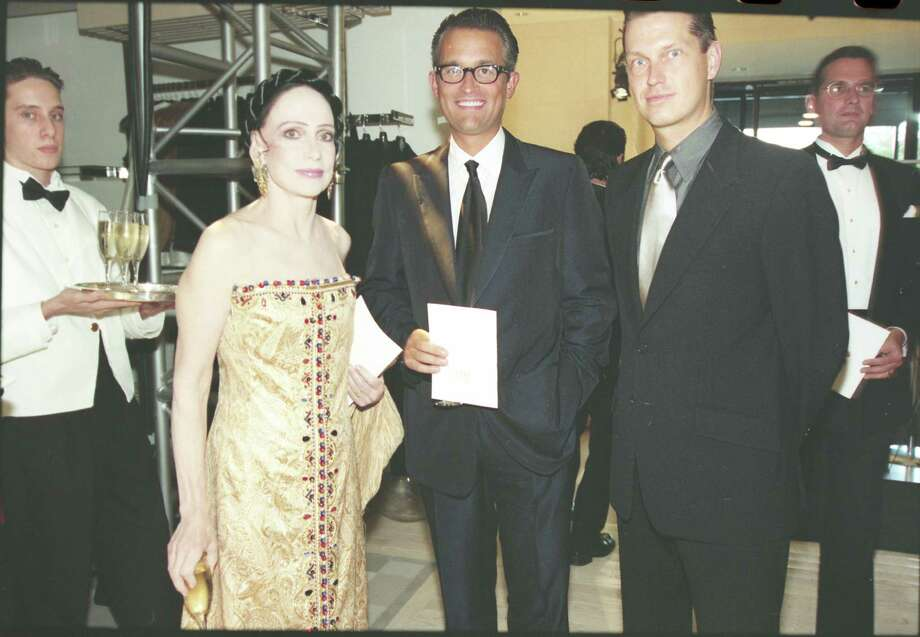 Fashion designers Mary McFadden, from left, Mark Badgley and James Mishka in 1997 at Saks Fifth Avenue, 5115 Westheimer, 713-627-0500.