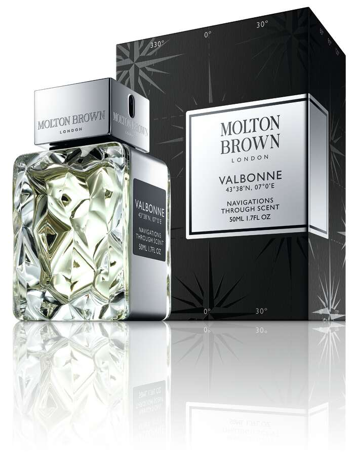 Valbonne is a new unisex fragrance from Molton Brown that blends bergamot, orrist root and white blossoms with a touch of leather. Photo: Molton Brown