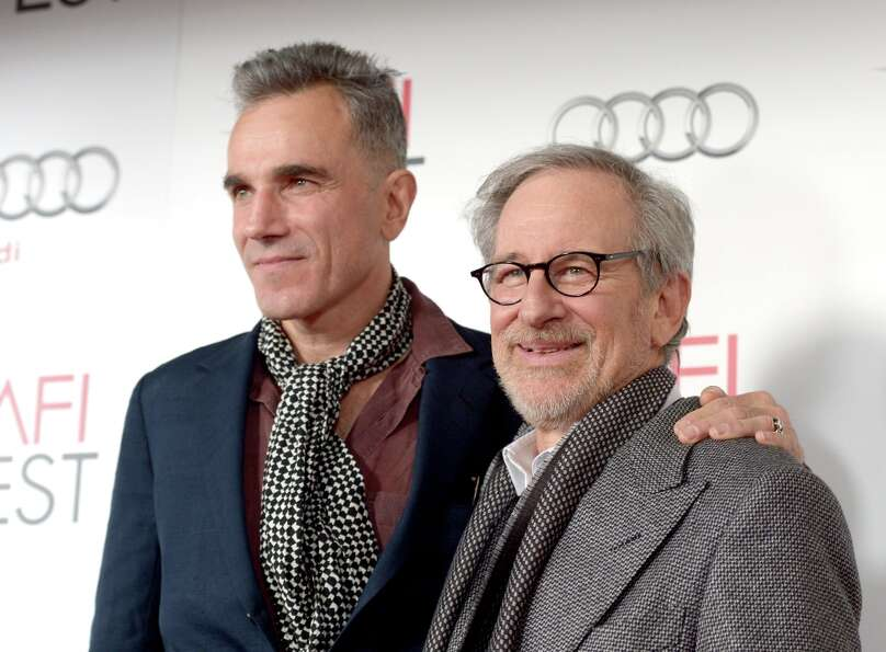 "Actor Daniel Day-Lewis and director Steven Spielberg arrive at the ""Lincoln"" premiere duri"
