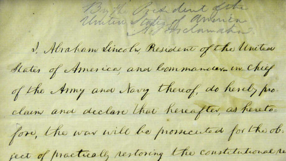 Detail from Abraham Lincoln's handwritten draft of the Emancipation Proclamation at the New York State Museum on Thursday Nov. 8, 2012.  (John Carl D'Annibale / Times Union)