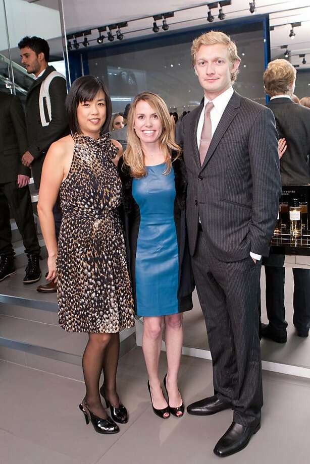 "Stephanie Ichinose, at left, Lee Hederman, and Luther Lowe of Yelp helped to sing ""Happy Birthday"" to guest of honor Jeremy Stoppelman, Yelp's CEO, at a party at the Dior Homme boutique in San Francisco Nov. 10. Photo: Drew Altizer Photography"