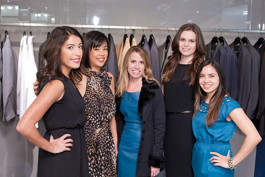 Don't be blue, ladies -- it's a birthday party! From left to right, Kristen Whisenand, Stephanie Ichinose, Lee Hederman, Rachel Walker and Katrina Hafford at the Dior Homme fashion and birthday party for Yelp CEO Jeremy Stoppelman, held Nov. 8 in San Francisco. Photo: Drew Altizer Photography