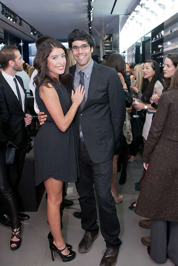 Kristen Whisenand and Michael Stoppelman, two well-heeled Yelp employees, at the party for Details magazine and Michael's bro, Jeremy Stoppelman, CEO of Yelp, at the Dior Homme boutique in San Francisco Nov. 8. Photo: Drew Altizer Photography