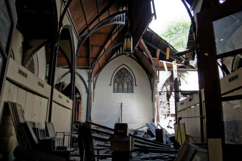 The interior of Trinity Church on Trinity Place, Albany on Tuesday, July 12, 2011. The church has suffered a series of recent structural collapses and crews are working to get the structure safely down  (Erin Colligan / Special To The Times Union) Photo: Erin Colligan / 00013889A