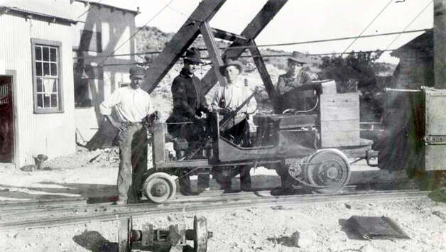 Copy photo, Oct. 19, 2012, of mine workers hauling silver ore at the Shafter, Tx. silver mine site. Photo: COURTESY PHOTO, San Antonio Express-News / © 2012 San Antonio Express-News