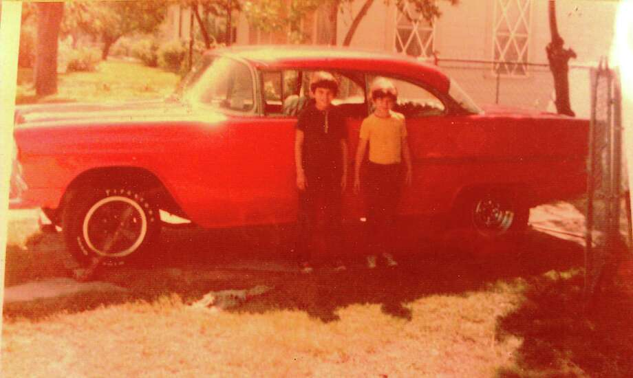 Anthony and Michael Jimenez in 1973 with the '55 Chevy Bel Air Photo: Courtesy