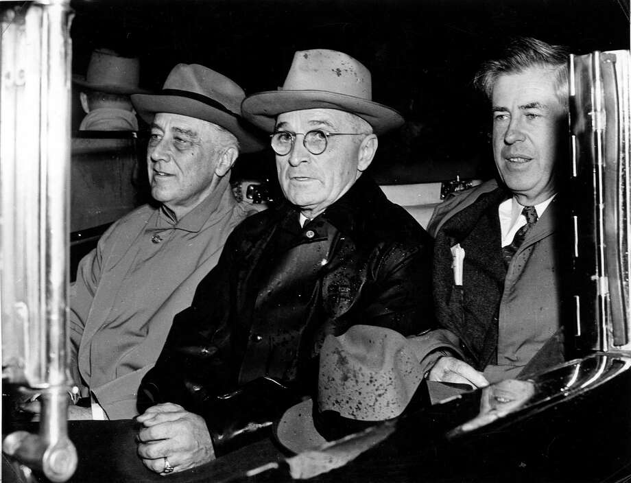 """Untold History of the United States"" explores what might have happened had President Franklin Roosevelt (left)  backed his third-term vice president, Henry Wallace (right), for the fourth term. Would that have prevented the Democratic convention from being manipulated into nominating Sen. Harry Truman (center)? Photo: Courtesy, Harry S. Truman Library"