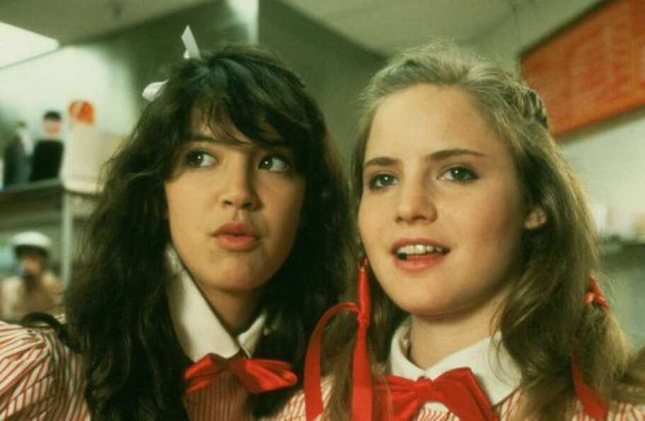 Jennifer Jason Leigh (R) was another famous '80s actress, pictured in