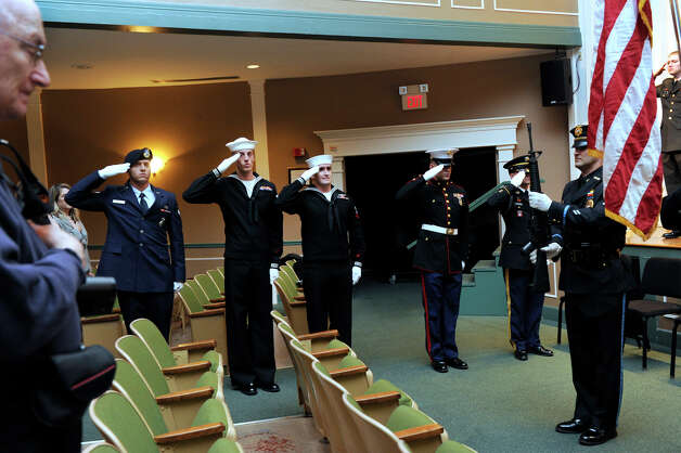Western Connecticut State University held a Veterans Day ceremony on the downtown campus, Friday, Nov. 9, 2012. Photo: Carol Kaliff / The News-Times