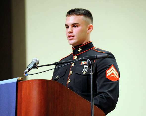 David Curtis, 23, of Bethel, a member of the U.S. Marine Corp and a student at Western Connecticut State University, speaks during  a Veterans Day ceromony on the downtown campus, Friday, Nov. 9, 2012. Photo: Carol Kaliff / The News-Times