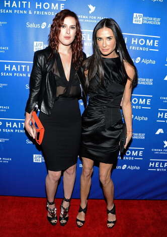 Demi Moore (R) with daughter Rumor Willis, now 24, at a fund-raiser on Jan. 14, 2012.  Photo: Angela Weiss, Getty Images / 2012 Getty Images