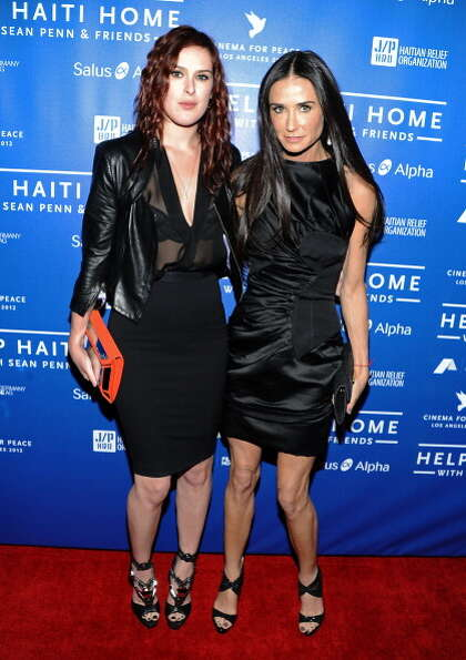 Demi Moore (R) with daughter Rumor Willis, now 24, at a fund-raiser on Jan. 14, 2012.