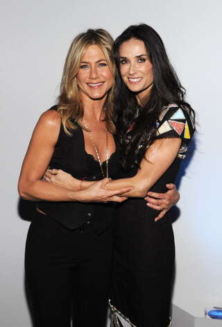 "Demi Moore (R) poses with Jennifer Aniston for the premiere of Lifetime's ""Five"" on Sept. 26, 2011.  Photo: Larry Busacca, Getty Images / 2011 Getty Images"