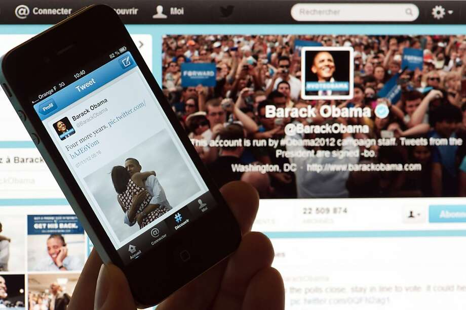 President Obama had a better day. Not only did he win, but his victory message on Twitter became the most popular tweet ever, topping one from singer Justin Bieber. Photo: Lionel Bonaventure, AFP/Getty Images