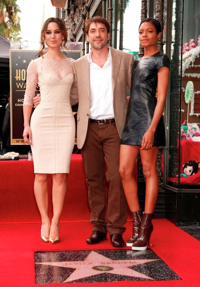 From left, Berenice Marlohe, Javier Bardem and Naomie Harris at Javier Bardem's star ceremony on the Hollywood Walk of Fame on November 8, 2012 in Hollywood, California. Photo: Todd Williamson, Associated Press / Invision