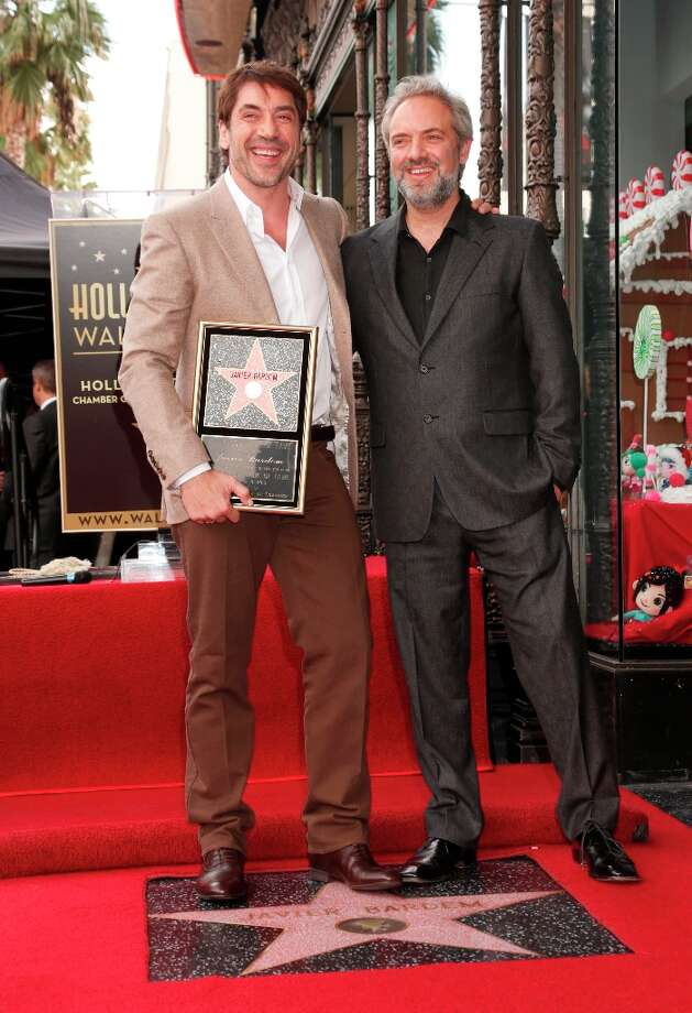Javier Bardem and director Sam Mendes attend Javier Bardem's star ceremony on the Hollywood Walk of Fame on Thursday, November 8, 2012 in Hollywood, California. Photo: Todd Williamson, Associated Press / Invision