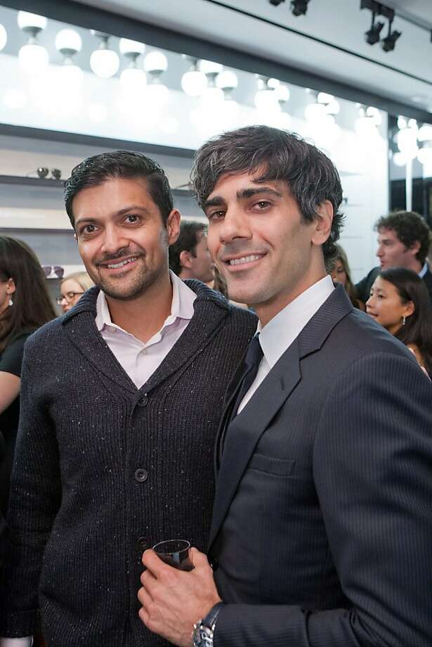 """At the cocktail party for Jeremy Stoppelman and Details magazine at Dior Homme in San Francisco Nov. 8, Palo Alto venture capitalist Mamoon Hamid (right, with Stoppelman), said he favors a """"Euro chic"""" look because he grew up in Germany. For all those entrepreneurs wanting to pitch him, he also had sartorial advice: """"You should look tidy, and kempt, not unkempt. But if they dress too well, it's a sign they are spending time on the wrong thing. They should be focusing on building and creating, not on fashion. They should dress plain vanilla and save the crazy, individual, change-the-world flair for their ideas."""" Photo: Drew Altizer Photography"""