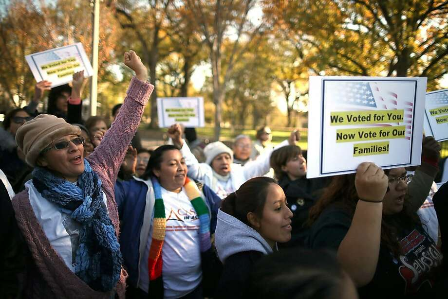 Backers of immigration reform hold a rally in front of the White House as the issue gains support. Photo: Mark Wilson, Getty Images