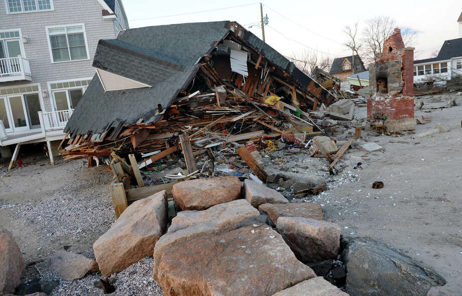 A view of a home which was destroyed during Hurricane Sandy along Fairfield Beach Road in Fairfield, Conn. on Friday November 9, 2012. Photo: Christian Abraham / Connecticut Post
