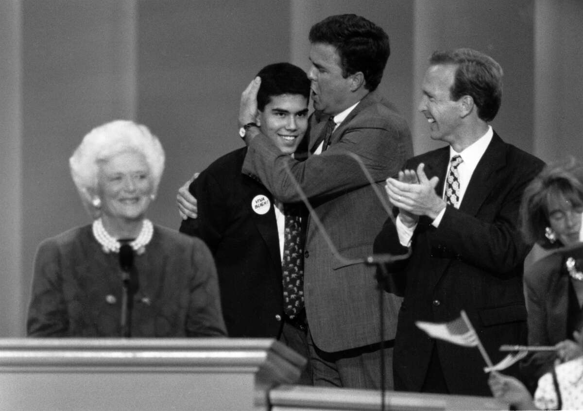 George P. Bush gets a hug from his father, Jeb Bush at the GOP Convention in 1992.