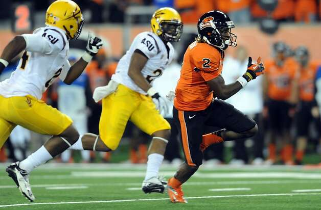 Oregon State wide receiver Markus Wheaton runs for a 50-yard touchdown last week against Arizona State, the game in which junior Cody Vaz took over as the Beavers' No. 1 quarterback. Photo: Steve Dykes, Getty Images