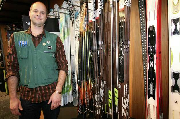 REI store manager Trevor Chabinsky in the ski section at the Norwalk, Conn. store on Friday, Nov. 9, 2012. Photo: David Ames / David Ames