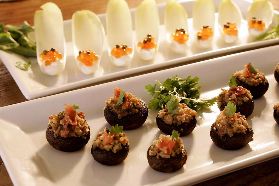 Mushrooms Stuffed With Prosciutto & Belgian Endive With Creme Fraiche, Green Peppercorns & Salmon Roe Photo: Craig Lee, The Chronicle 2005