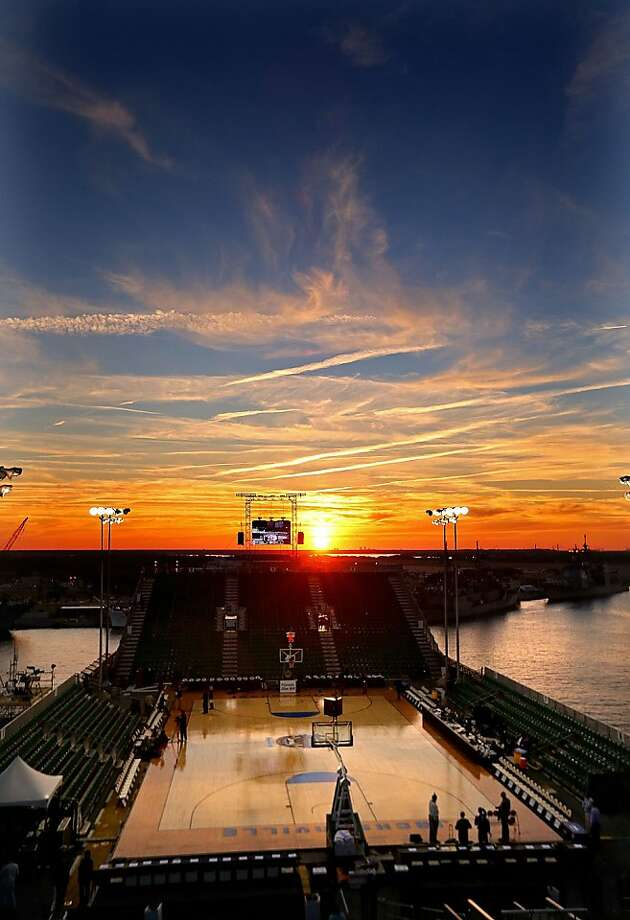 JACKSONVILLE, FL - NOVEMBER 09:  A general view of the court before the Navy-Marine Corps Classic between the Florida Gators and the Georgetown Hoyas aboard the USS Bataan at Mayport Naval Air Station on November 9, 2012 in Jacksonville, Florida.  (Photo by Mike Ehrmann/Getty Images) Photo: Mike Ehrmann, Getty Images