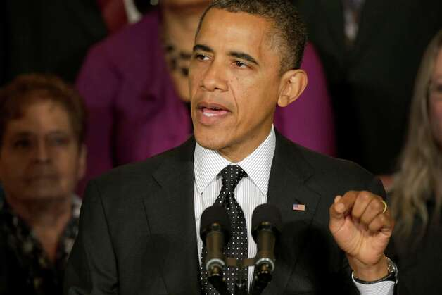 President Barack Obama gestures as he speaks about the economy and the deficit, Friday, Nov. 9, 2012, in the East Room of the White House in Washington. (AP Photo/Pablo Martinez Monsivais) Photo: Pablo Martinez Monsivais
