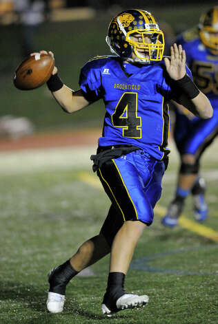 Brookfield quarterback Brad Westmark prepares to throw the ball during their game against New Fairfield at Brookfield High School on Friday, Nov. 9, 2012. New Fairfield won, 34-19. Photo: Jason Rearick / The News-Times