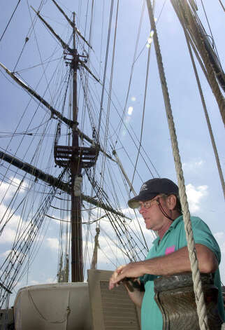 HMS Bounty Capt. Robin Walbridge stands on the deck of the ship during tours in Sandusky, Ohio, July 1, 2004. 63-year-old Walbridge was lost at sea and crew member Claudene Christian was found in the water, unresponsive, and was later declared dead, after the 18th-century sailing vessel went down off the North Carolina coast, and the crew had to abandon ship in the rough waters churned up by Hurricane Sandy. Photo: Jason Werling, AP Photo/The Sandusky Register, / ASSOCIATED PRESS