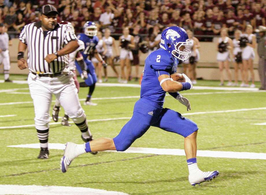 Cy-Creek's Kyle Huff #2 scores on a short pass during 17-5A action between Cy-Fair and Cypress Creek on Friday, November 9, 2012 at Pridgeon  Stadium in Houston, Texas. Cy-Fair defeats Cy-Creek. Photo: Bob Levey, Houston Chronicle / ©2012 Bob Levey