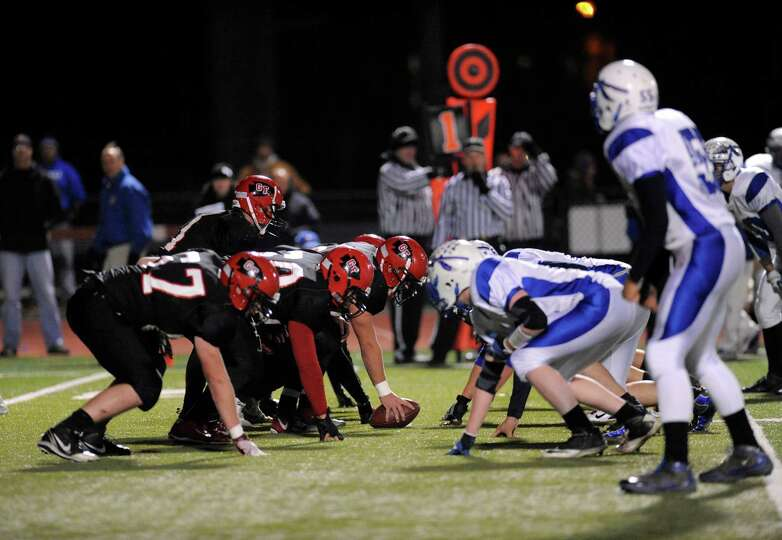 Glens Falls' moves the ball against Peru during their football game in Clifton Park, N.Y., Friday, N