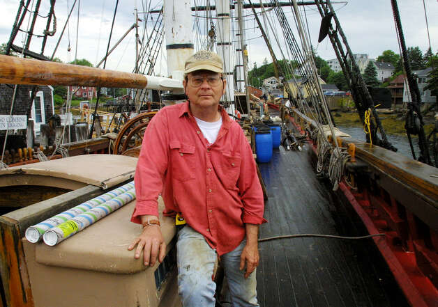 "Captain Robin Walbridge poses aboard the tall ship HMS Bounty, Tuesday, July 2, 2002 in Boothbay Harbor, Maine. The ship was built in 1960 as a prop for the film ""Mutiny On the Bounty."" 63-year-old Walbridge was lost at sea and crew member Claudene Christian was found in the water, unresponsive, and was later declared dead, after the 18th-century sailing vessel went down off the North Carolina coast, and the crew had to abandon ship in the rough waters churned up by Hurricane Sandy. Photo: JOEL PAGE, AP Photo/Joel Page / ASSOCIATED PRESS"