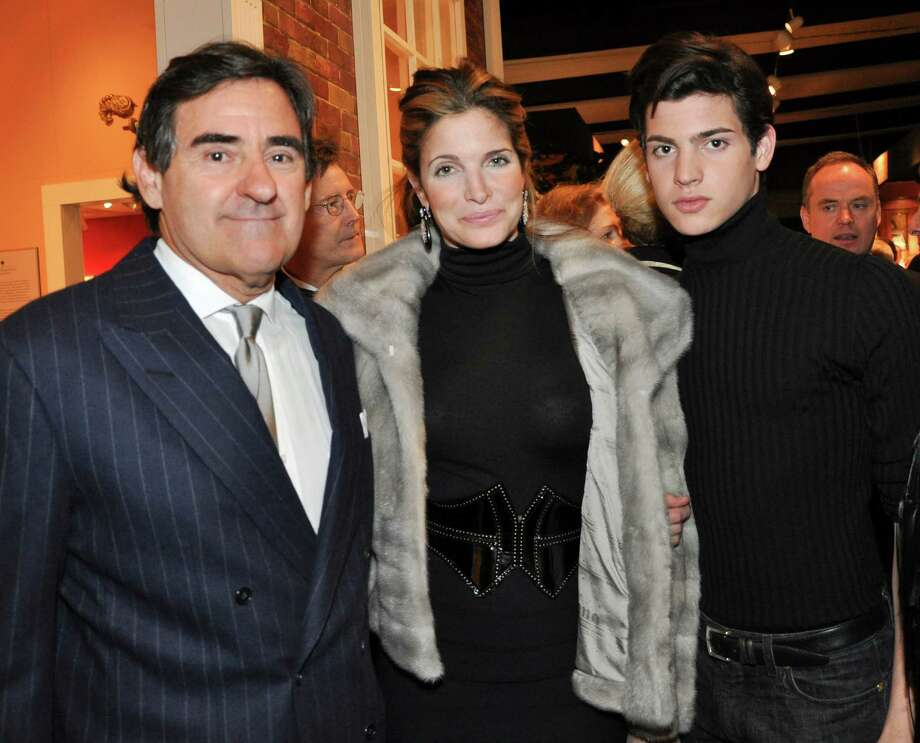 From left, Peter Brant, Stephanie Seymour and Peter Brant II pose at the Winter Antiques Show opening night party in New York Jan. 20, 2011. Brant was named the seventh most influential person in the art world by Art & Auctions magazine in its annual Power 100 list. Photographer: Amanda Gordon/Bloomberg Photo: Amanda Gordon, Bloomberg