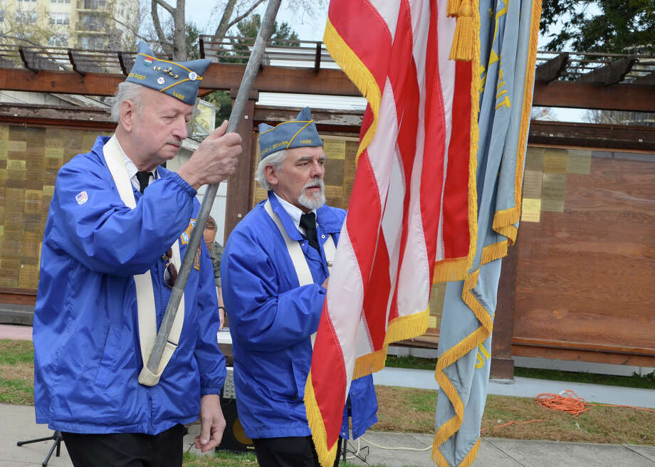 Catholic War Veterans Post 1466 members from left, U.S. Army Veteran Ken Jones and U.S. Navy Veteran Al Neudeck participate in the third annual Veterans Day Mass and Ceremony at St. Margaret Shrine on Park Ave. in Bridgeport on Saturday, Nov. 10, 2012. Participants in the ceremony included South Vietnamese Military Veterans, the Greater Bridgeport Detachment of the Marine Corps League, Port 5 Naval Veterans, and the Catholic War Veterans Post 1466. Photo: Amy Mortensen / Connecticut Post Freelance