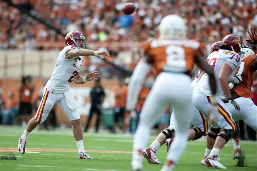 Steele Jantz #2 of the Iowa State Cyclones throws a pass against Texas.