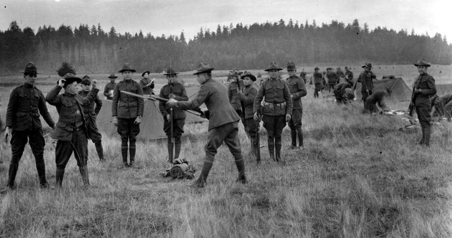 This undated photo shows Camp Lewis soldiers during World War I training. Photo: Seattlepi.com File