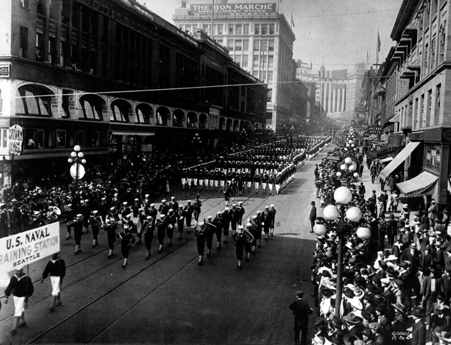 Naval cadets parade down Second Avenue in this undated World War I photo. Photo: Seattlepi.com File