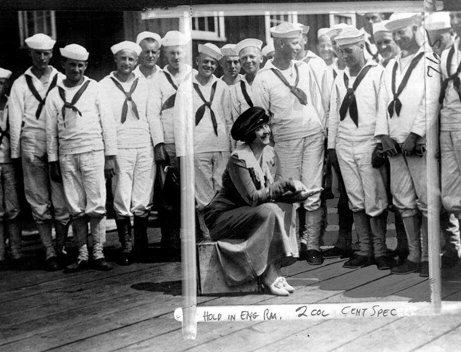 "The caption for this undated, previously unpublished photo read: ""Clara Kimball Young entertaining a group of Naval cadets at the UW training ground."" Photo: Seattlepi.com File"