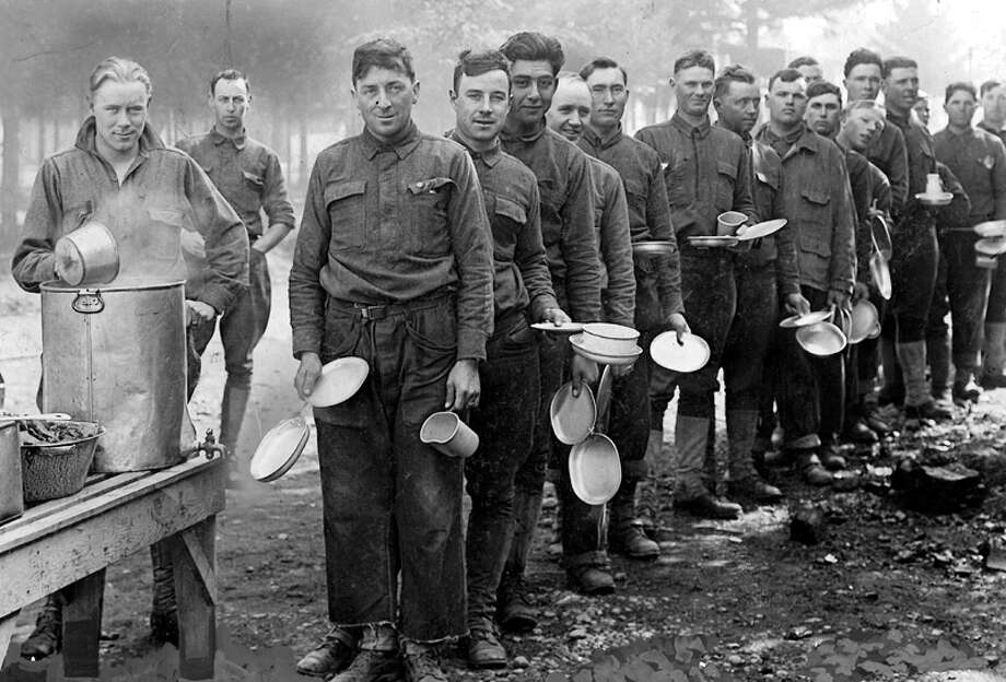 This undated photo from the P-I's World War I collection shows men at what was then Camp Lewis. Photo: Seattlepi.com File