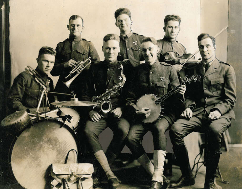 This photo is of a World War I-era Seattle military jazz band. The original print, which does not appear to have been previously published, gives no other details about the men or where it was taken. Photo: Seattlepi.com File