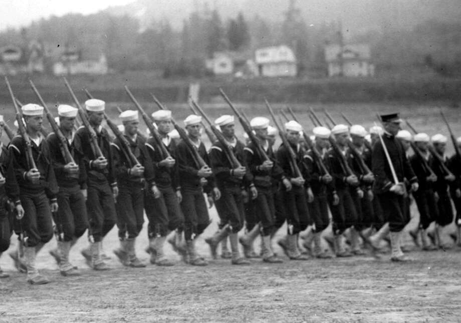 This previously unpublished P-I photos shows Northwest men at the Naval Training Station in Sept. 1917. Photo: Seattlepi.com File