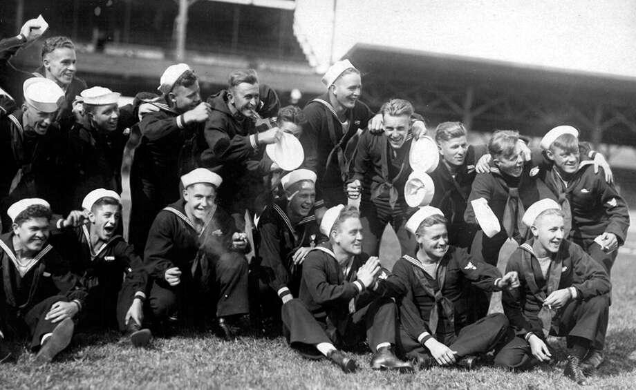 This previously unpublished P-I photo shows Seattle Navy men in 1919. Photo: Seattlepi.com File