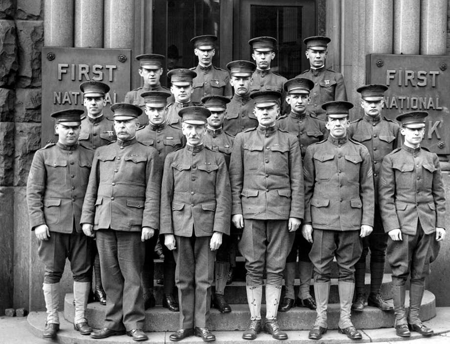 This photo of U.S. Army officers in Seattle was taken in early April 1918 and published that April 21. Photo: Seattlepi.com File