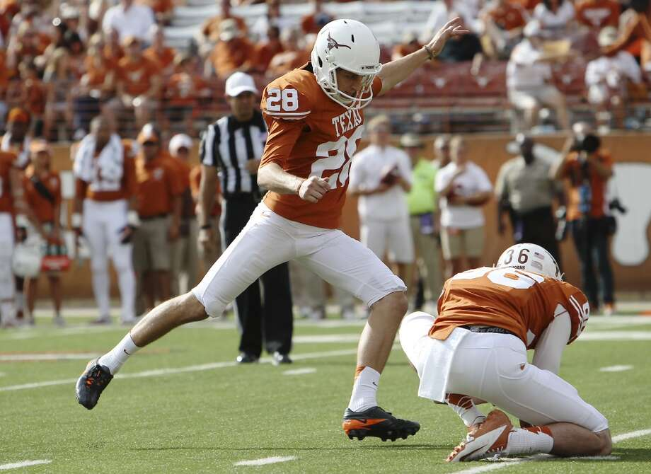 Texas Longhorns kicker Nick Jordan strides in for a field goal against Iowa State's in the second half at Darrell K. Royal Stadium in Austin on Saturday, Nov. 10, 2012. Texas defeated Iowa State, 33-7. (Kin Man Hui / San Antonio Express-News)
