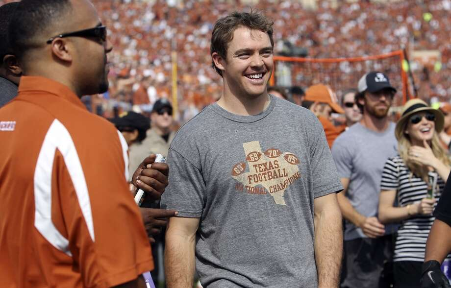 Former Texas Longhorns quarterback Colt McCoy makes an appearance at the game against Iowa State at Darrell K. Royal Stadium in Austin on Saturday, Nov. 10, 2012. (Kin Man Hui / San Antonio Express-News)